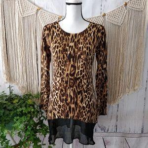 LOGO Cheetah Print Cashmere Sweater Dress. XXS